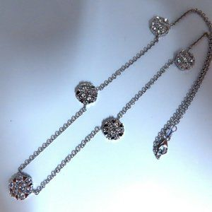 Jewelry - 5.22ct natural diamonds (5) cluster yard necklace